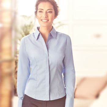 Russell Collection Ladies Long Sleeve Fitted Poplin Shirt Thumbnail