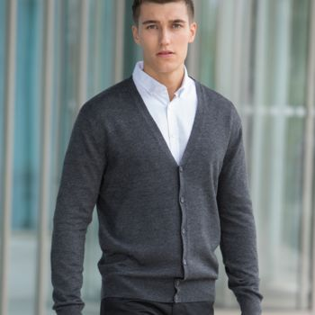 Henbury Lightweight Cotton Acrylic V Neck Cardigan Thumbnail