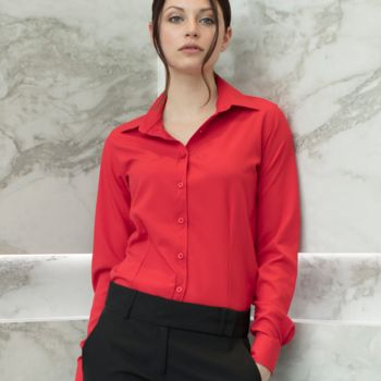 Henbury Ladies Long Sleeve Wicking Shirt Thumbnail