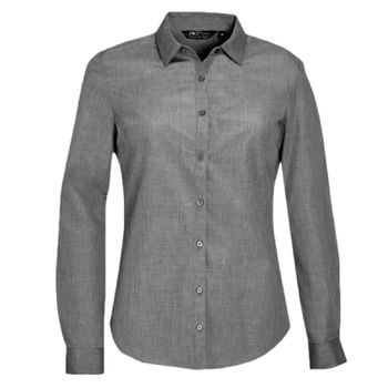 SOL'S Ladies Barnet Long Sleeve Heather Poplin Shirt Thumbnail