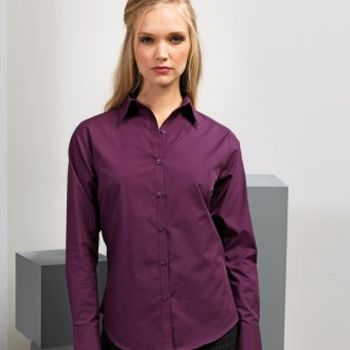 Premier Ladies Long Sleeve Poplin Blouse Thumbnail