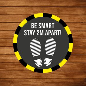 Social Distancing - Be Smart! Stay 2m apart floor graphic (3 pack) Thumbnail